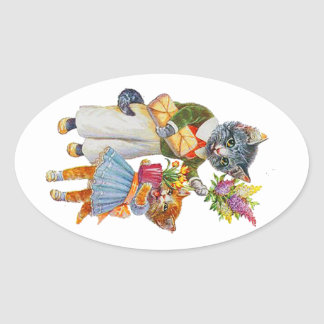 Sticker Ovale Chats d'Arthur Thiele soutenant des cadeaux