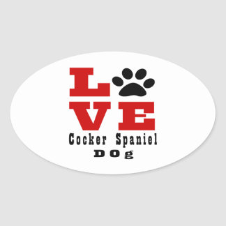 Sticker Ovale Chien Designes de cocker d'amour
