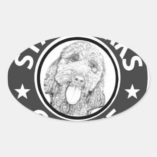 Sticker Ovale chien Starbucks