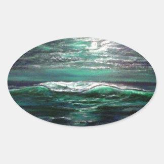 Sticker Ovale clair de lune de vague de plage