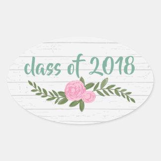 Sticker Ovale Classe du bois de 2018 gris floral
