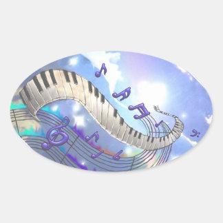 Sticker Ovale Clés musicales de piano de ciel