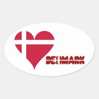 Sticker Ovale Coeur danois