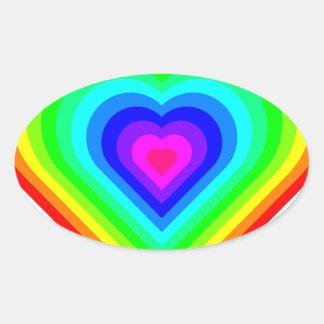 Sticker Ovale Coeur d'arc-en-ciel