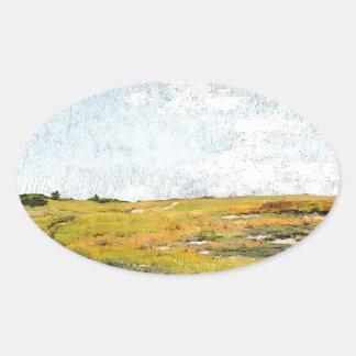 Sticker Ovale Collines ensoleillées de Shinnecock d'après-midi