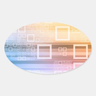 Sticker Ovale Concept du trafic de train de données de données