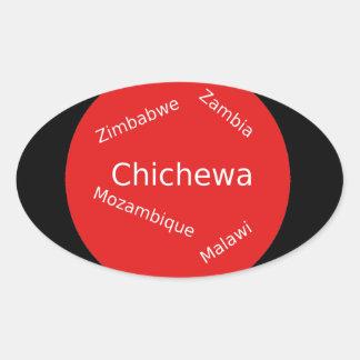 Sticker Ovale Conception de langue de Chichewa