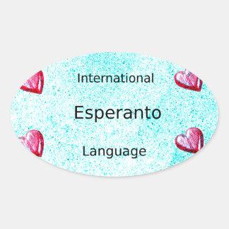 Sticker Ovale Conception internationale de langue d'espéranto