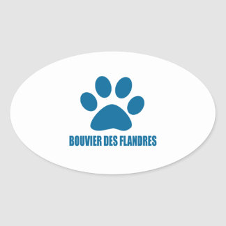 STICKER OVALE CONCEPTIONS DE CHIEN DE DES FLANDRES DE BOUVIER