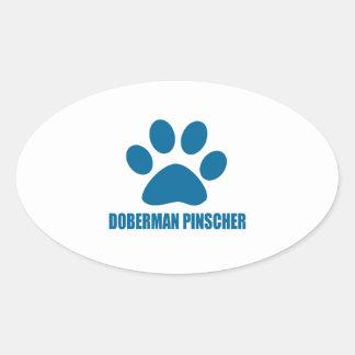 STICKER OVALE CONCEPTIONS DE CHIEN DE PINSCHER DE DOBERMANN