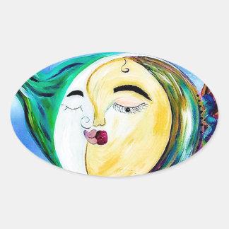 Sticker Ovale Connexion rêveuse d'amour