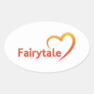 Sticker Ovale Conte de fées avec amour