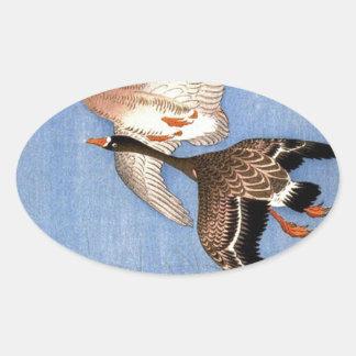 Sticker Ovale Copie vintage des oies de vol