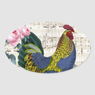 Sticker Ovale Coq chic minable