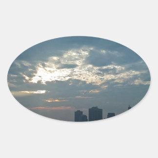 Sticker Ovale Coucher du soleil Manhattan1