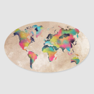Sticker Ovale couleurs de carte du monde