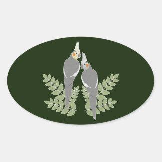 Sticker Ovale Couples de Cockatiel