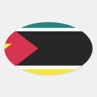 Sticker Ovale Coût bas ! Drapeau de la Mozambique