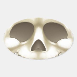 Sticker Ovale Crâne de bande dessinée
