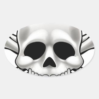 Sticker Ovale Crâne et os croisés
