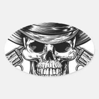 Sticker Ovale Crâne et pistolets de cowboy