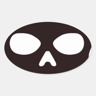 Sticker Ovale Crâne noir