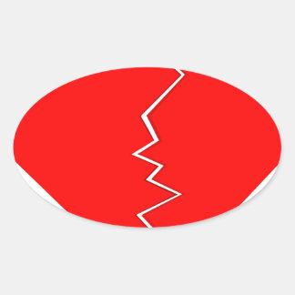 Sticker Ovale Criqué et le coeur brisé