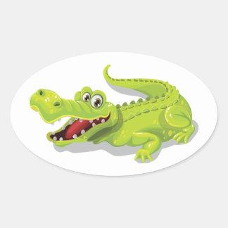 Sticker Ovale Crocodile de bande dessinée