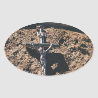 Sticker Ovale croix et sable