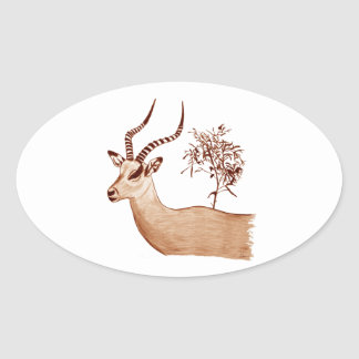 Sticker Ovale Croquis animal de dessin de faune d'antilope