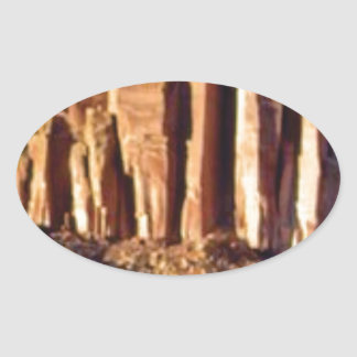 Sticker Ovale début rouge de falaise