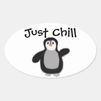 Sticker Ovale Décalque d'autocollant de pingouin