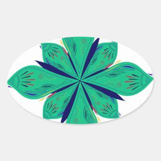Sticker Ovale Deco vert d'Ethno de mandala