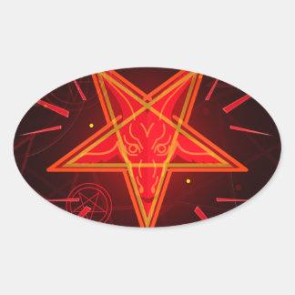 Sticker Ovale démon au néon