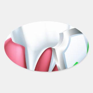 Sticker Ovale Dent et gomme de bouclier