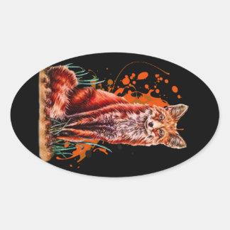 Sticker Ovale Dessin d'art animal rouge de Fox et de peinture