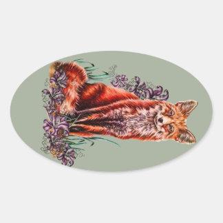 Sticker Ovale Dessin d'art animal rouge et de lis de Fox