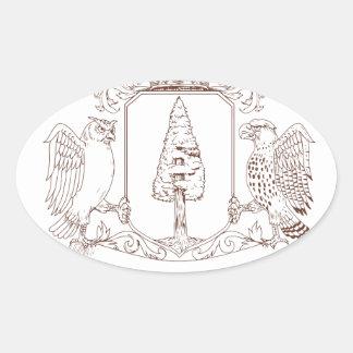 Sticker Ovale Dessin de crête de couronne de séquoia de hibou et