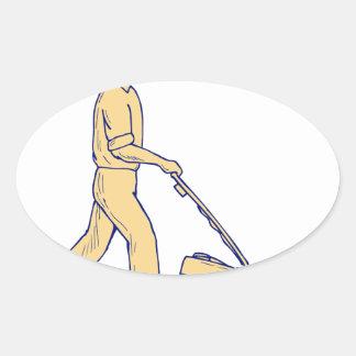 Sticker Ovale Dessin de fauchage de tondeuse à gazon de