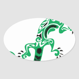 Sticker Ovale Dessin de lézard vert