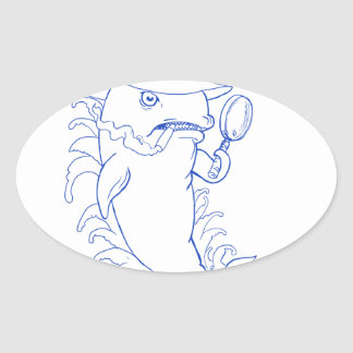 Sticker Ovale Dessin révélateur d'épaulard d'orque