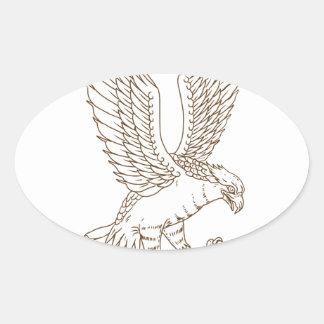 Sticker Ovale Dessin Swooping de balbuzard