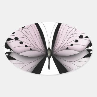 Sticker Ovale Domestique rose de marais de papillon rose