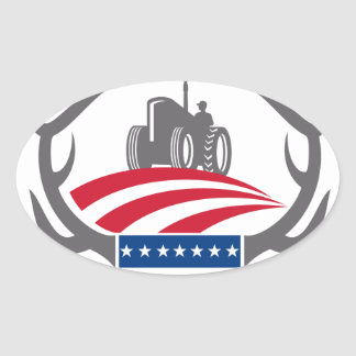 Sticker Ovale Drapeau américain de tracteur de ferme d'Antler