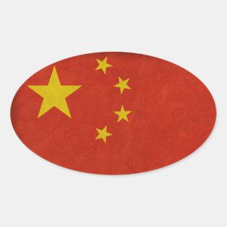Sticker Ovale Drapeau Chinois