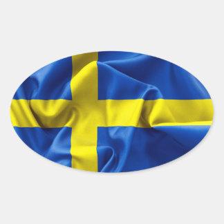 Sticker Ovale Drapeau de la Suède