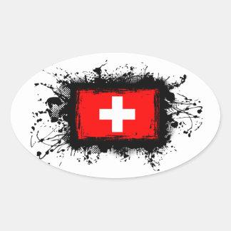 Sticker Ovale Drapeau de la Suisse