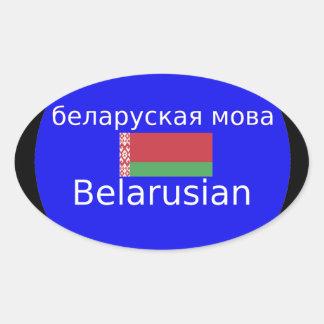 Sticker Ovale Drapeau du Belarus et conception de langue
