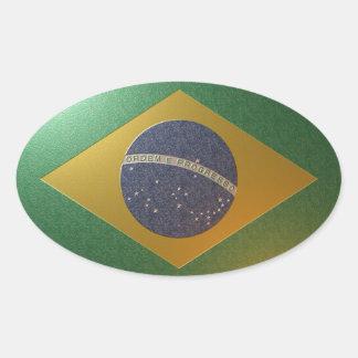 Sticker Ovale Drapeau du Brésil Métallisé