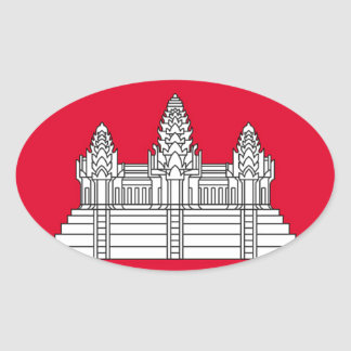 Sticker Ovale Drapeau du Cambodge